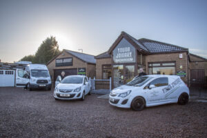 Young Joinery showroom vehicles and staff