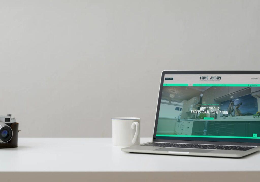 New website on laptop
