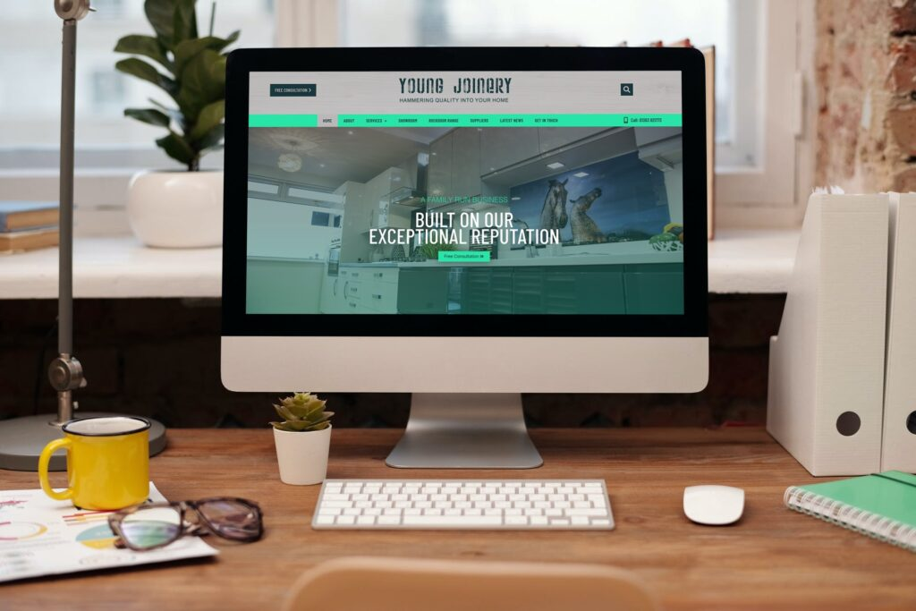 Mockup of Young Joinery's new website