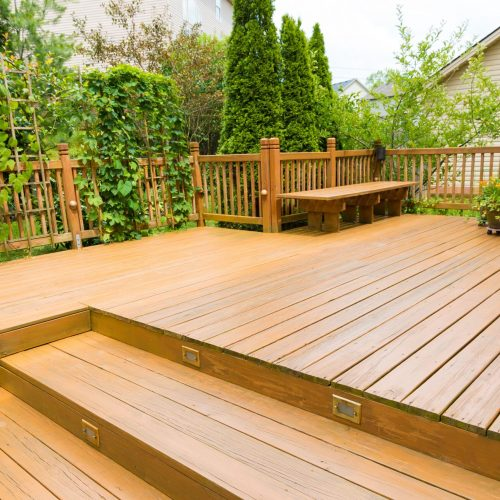 New decking with steps and lighting
