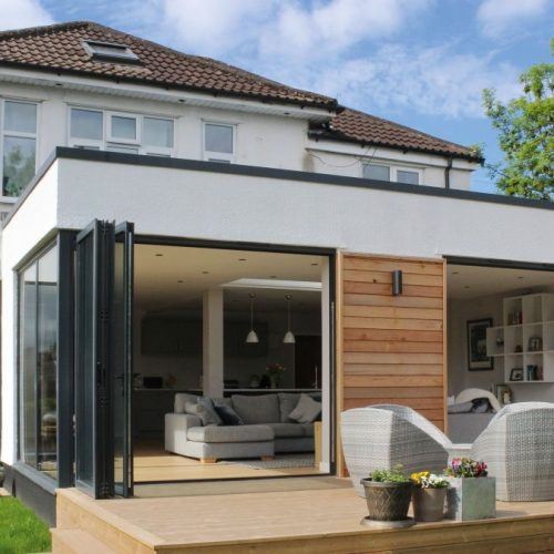 Modern Extension with wood decking