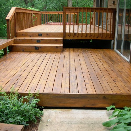 New decking with inset lights