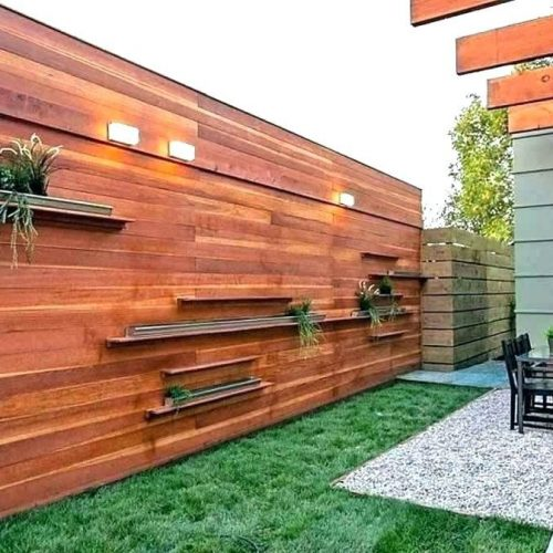 Modern garden fencing with lights