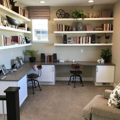 Home office with shelving and 2 workstations