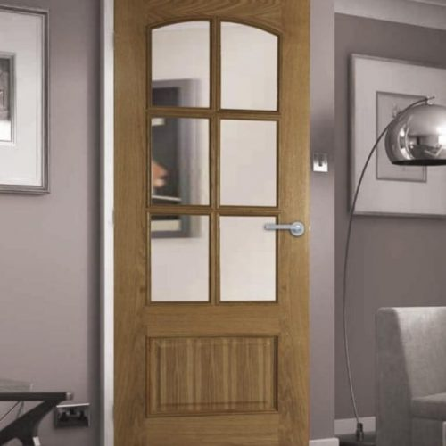 Internal door with glass panels