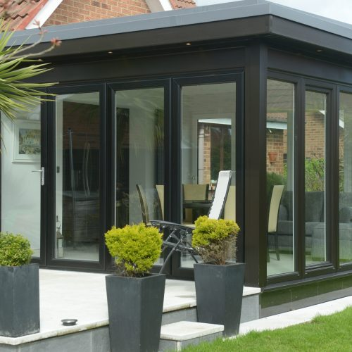Modern extension with glass