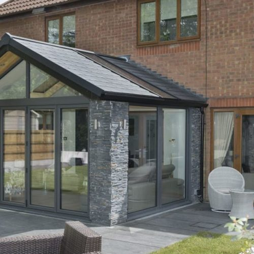 Extension with peaked roof