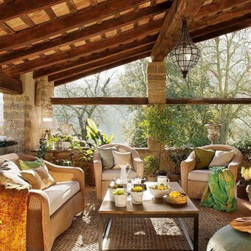 Wood and stone sunroom